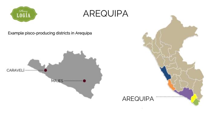 pisco arequpia, map arequipa D.O., mapa pisco en arequipa, ruta pisco peru, pisco route peru, map pisco regions peru